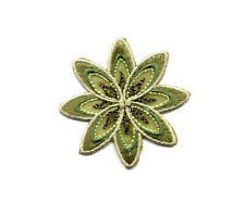 Flower - Greens W/Beads Embroidered Iron On Applique Patch - Crafts