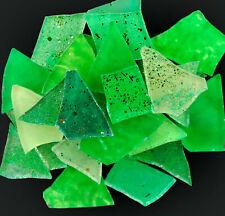 100 pieces of MIXED GREEN  Premium Metallic Glitter Glass Mosaic Tiles
