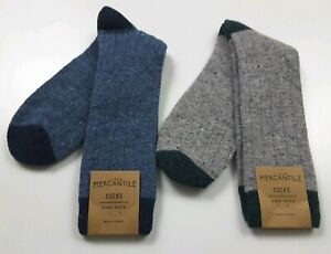 J. Crew Mercantile Donegal Tipped Wool Blend Socks ~ Blue or Gray/Green