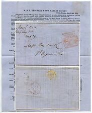 GB 1854 NEWSPAPER STAMP 1d KEIGHLEY PRICES CURRENT HULL to PLYMOUTH