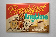 "Tin Sign Food Restaurant Decoration  Breakfast coffee eggs Metal Plate 8X12"""