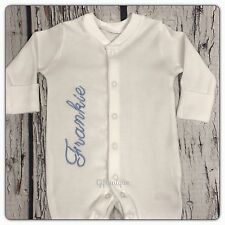 PERSONALISED Baby Sleepsuit Gro Gift Keepsake Boy Girl ANY NAME Script Side