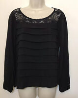 Ella Moss Anthropologie XS Black Tiered Long Sleeve Lace Scoop Neck Top