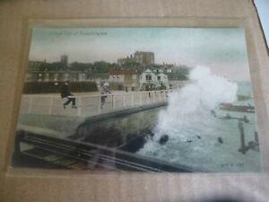Broadstairs High Tide Near Railway Line Animated Postcard U/P c1910s Welch