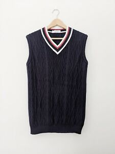 Vintage Jaeger Blue Cotton Chunky Cable Cricket Sleeveless Vest Jumper S 8-10-12