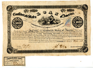 1862    $1000  Confederate Bond.  Number issued 993    B-38