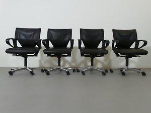 Wilkhahn 4 x Konferenz-Bürodrehstuhl Modell Modus Executive 283/81 Leder schwarz