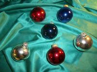 ~ 6 alte Christbaumkugeln Glas rot blau silber Vintage Christbaumschmuck CBS ~