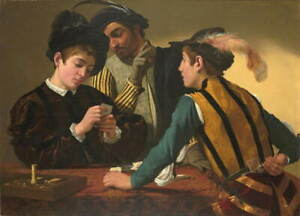 Michelangelo Caravaggio The Cardsharps Poster Reproduction Giclee Canvas Print