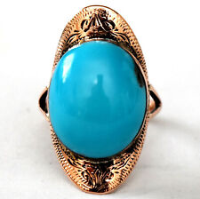 Stunning 10K Solid Rose Gold and Natural Sleeping Beauty Persian Turquoise Ring