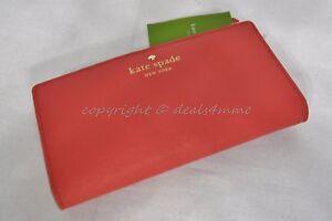 NWT Kate Spade Mikas Pond Stacy Leather Wallet in Geranium - Orange/Red WLRU1691