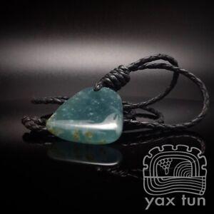 Fine Blue Jade Pendant Translucent Icy Guatemalan Jadeite Leather Cord - YJP001