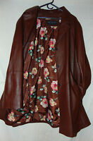 ~ CENTIGRADE WOMENS LEATHER JACKET BROWN LEATHER COAT SZ 3XL