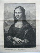stampa antica old print engraving LA GIOCONDA MONNA LISA LEONARDO DA VINCI 1878