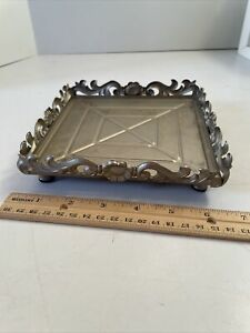 """Silver Gray Metal Jar or Large Square Candle Holder ~maybe Tray ~6 1/2"""" x 6 1/2"""""""