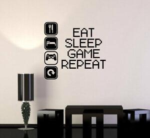 EAT SLEEP GAME REPEAT Boys Room Video Gamer Vinyl Wall Decal Decor Sticker