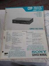Sony Cdp-701es Rm 101 Compact Disc Player Service Manual