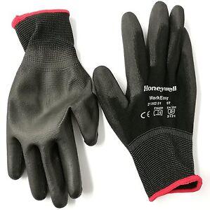 5 Pairs of Honeywell Workeasy Black PU Safety Work Gloves - size 6 to 11