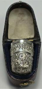 Victorian Sterling Silver Thimble (Size 10) in Case – Hallmarked 1900