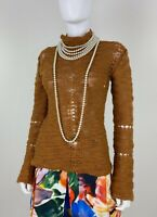 Versace Couture 4 6 US 40 42 IT S Gold Stretch Knit Wool Sweater Top Runway Auth