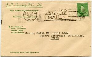 AUSTRALIA ADVERT ENVELOPE INVERARITY CO GLASS FREMANTLE MACHINE SLOGAN 1941 WW2