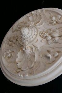 Klingerstuck Stuckrosette Rosette Stuckleisten Lampe Antik Gips Stuck 60 cm weiß