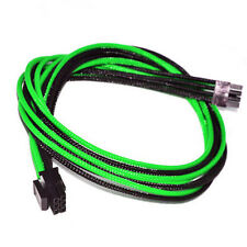 6pin pcie Green Black Sleeved PSU Cable EVGA Silverstone Coolermaster Seasonic