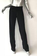 Jean Paul Gaultier black pant wide leg relaxed dress pant Sz8 42 attached belt