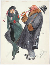 "Emil Huebl (189-1969) ""Fright"", Watercolor, 1913"