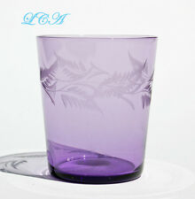 Super FANCY floral pattern inscribed ANTIQUE whiskey SHOT GLASS light amethyst
