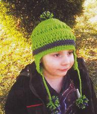 Crochet Pattern ~ Kids Striped Ear Flap Hat ~ Instructions