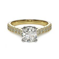 1.53ct F VS2 ROUND BRILLIANT CUT DIAMOND ENGAGEMENT RING 14K YG