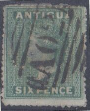(R557) 1862 Antiua 6d green QVic (cancel AO2) ow29