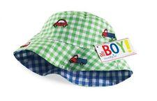 New Mud Pie TRUCKS  &  CARS SUN  HAT CAP  Blue & Green Gift REVERSIBLE 0-12 mos.