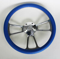 """60-69 Chevy Pick Up Truck Steering Wheel Blue and Billet 14"""" Chevy Bowtie Cap"""