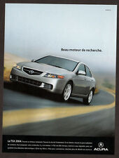 2004 ACURA TSX Original Print AD - Silver car photo, sky, road, speed, french ad
