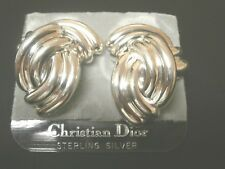 Christian Dior Signed Clip Earrings Sterling Silver S925  Germany