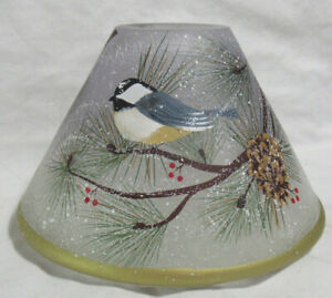 Yankee Candle Jar Shade White Frosted Crackle WINTER BIRDS blue berries pinecone