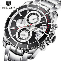 Top BENYAR Mens Quartz Wrist Watch Date Steel Band Chronograph 30m Waterproof