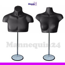 Black Mannequin Male & Female Chest Torsos Set + 2 Stands + 2 Hangers To Hang