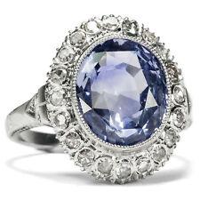 Précieux : Vintage Bague avec Ceylan Saphir & Diamants en or Blanc,de