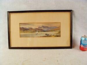 Antique 1863 S P Forbes Jones Windermere Sailboat Landscape Painting