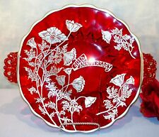 Ruby Red Glass 40th Anniversary Cake Plate with Silver Overlay, 11 1/4""