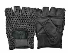 CROCHET LEATHER CYCLING GLOVES HALF FINGER MENS BIKE PADDED BICYCLE FINGERLESS