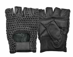 LEATHER CYCLING GLOVES CROCHET BACK HALF FINGER PADDED WEIGHT LIFTING FINGERLESS