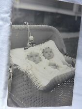 ANTIQUE undivided RPPC twins babies IN wicker  STROLLER