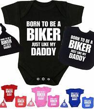 BabyPrem Baby Clothes BIKER Bodysuit Vest Hat Bib Set Fun Novelty Shower Gifts