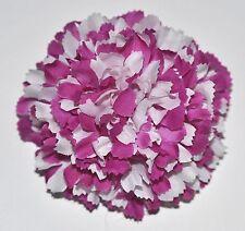 "3"" Purple & White Carnation Artificial Silk Flower BROOCH PIN Lapel Handmade"