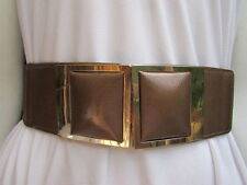 WOMEN WAIST HIP BROWN ELASTIC FASHION BELT SQUARES GOLD BUCKLE WIDE BAND XS S M