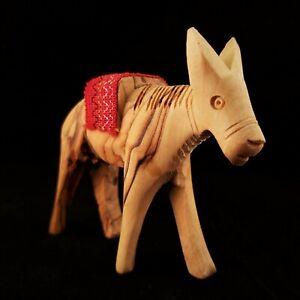 Handmade Olive Wood Nativity Donkey 9.5cm Saddle Bethlehem Palestine Figurine